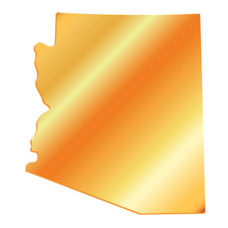 3D Arizona (USA) Gold outline map with shadow