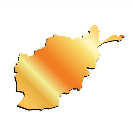 3D Vector Afghanistan Gold Outline Mercator Map