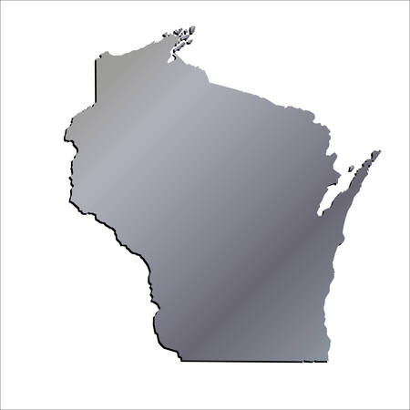 wisconsin: 3D Wisconsin (USA) Aluminium outline map with shadow