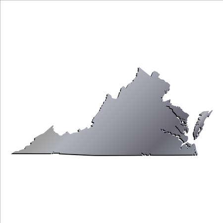 3d virginia: 3D Virginia State USA Aluminium outline map