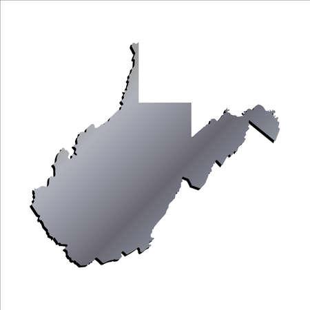 3d virginia: 3D West Virginia (USA) Aluminium outline map with shadow