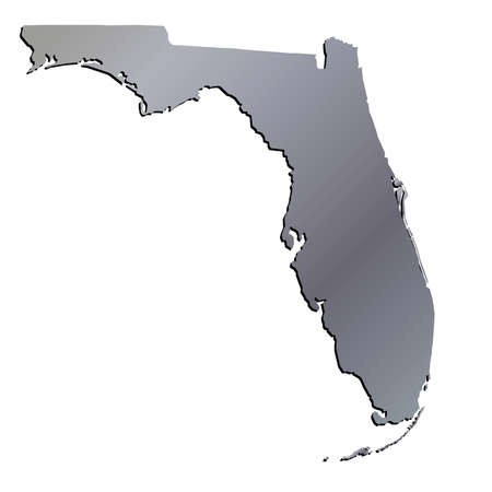 mercator: 3D Florida (USA) Aluminium outline map with shadow