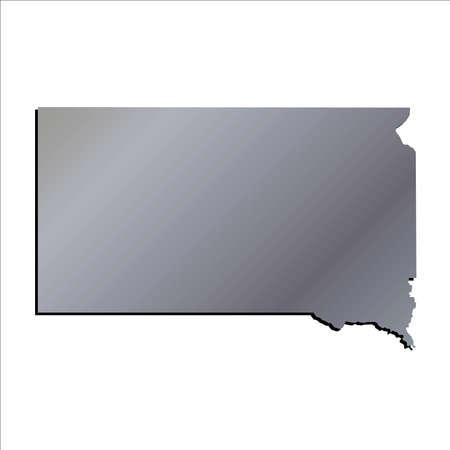 mercator: 3D South Dakota State Aluminium outline map with shadow