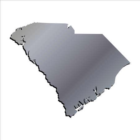 mercator: 3D South Carolina  Aluminium outline map with shadow