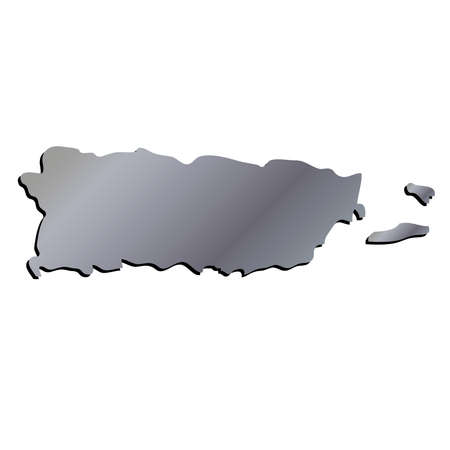 3D Puerto Rico Aluminium outline map with shadow Illustration