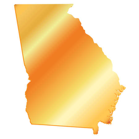 3D Georgia (USA) Gold outline map with shadow