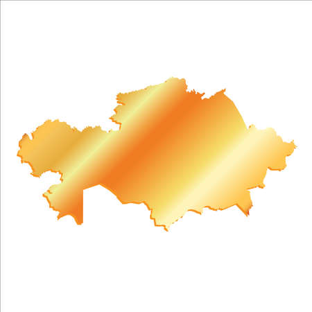 polity: 3D Vector Kazakhstan Gold With Shadow