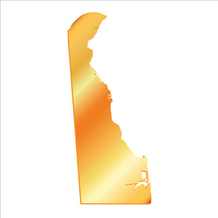 3D Delaware (USA) Gold outline map with shadow Illustration