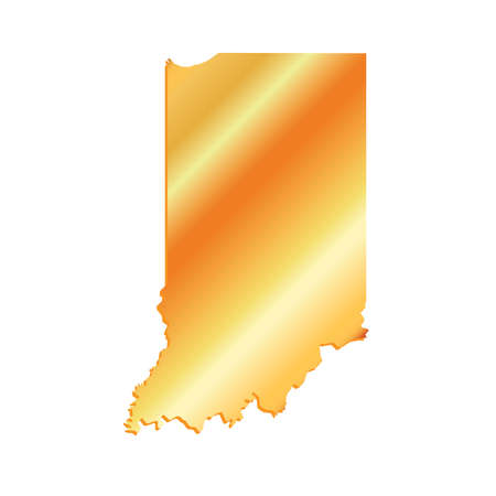 3D Indiana State USA Gold Outline Map