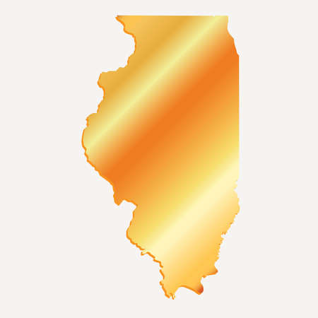 3D Illinois State USA Gold outline map