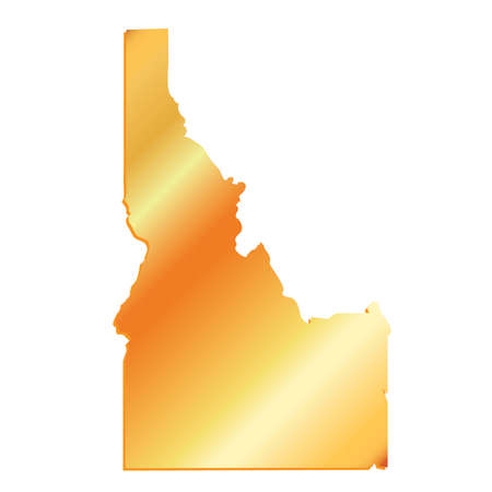 mercator: 3D Idaho State USA Gold outline map