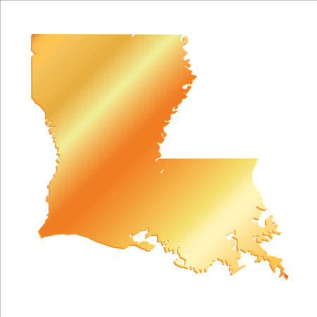 baton rouge: 3D Louisiana (USA) Gold outline map with shadow