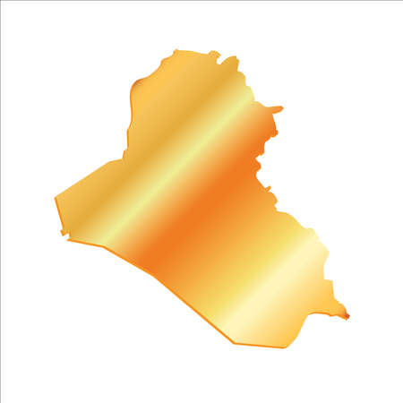 iraq: 3D Iraq Gold Outline Map With Shadow Illustration