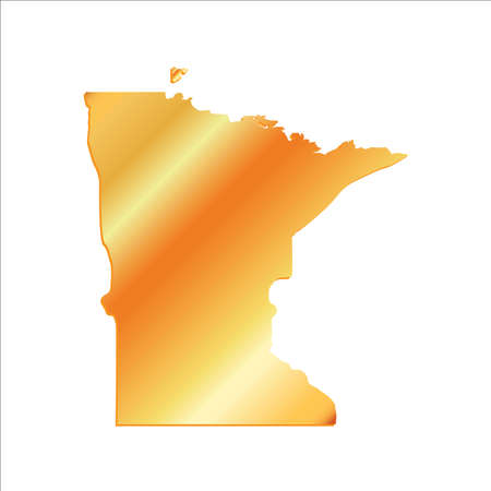 3D Minnesota (USA) Gold Boundary map with shadow Illustration