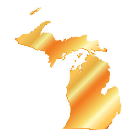 3D Michigan (USA) Gold Boundary map with shadow