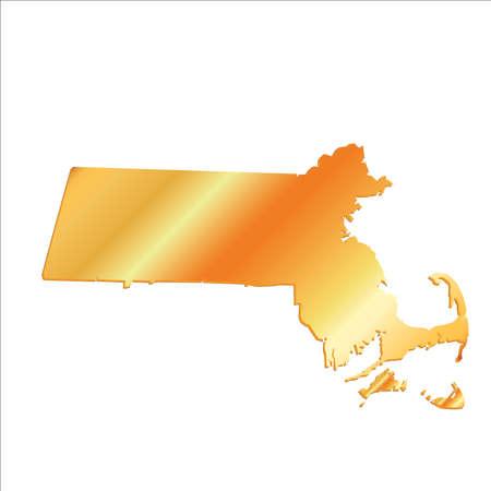 massachussets: 3D Massachussets (USA) Gold Boundary map with shadow