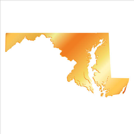 3D Maryland (USA) Gold Boundary map with shadow