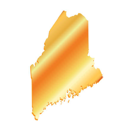 3D Maine (USA) Gold Boundary map with shadow