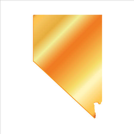 3D Nevada State USA Gold outline map Vettoriali