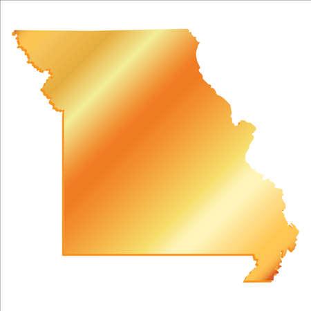 3D Missouri (USA) Gold State map with shadow