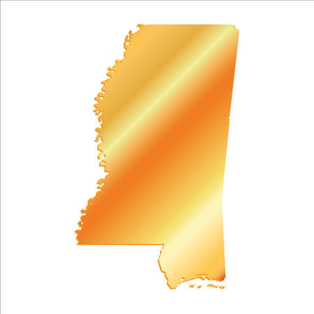 3D Mississippi (USA) Gold map with shadow