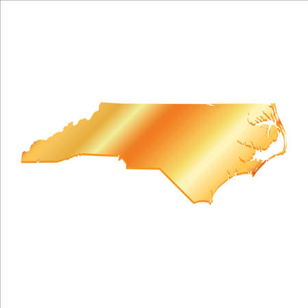boundary: 3D North Carolina USA Gold Boundary map