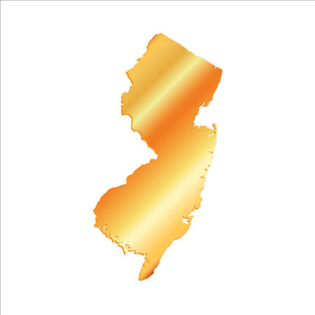 3D New Jersey State USA Gold map Illustration