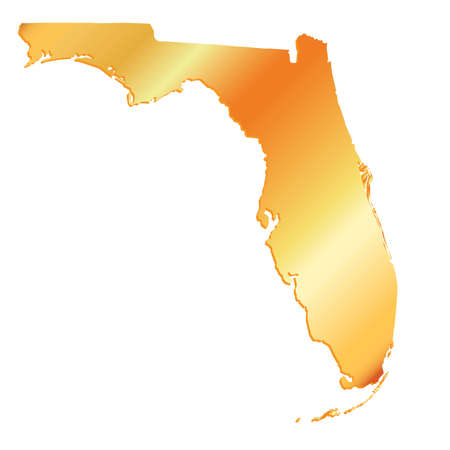 3D Florida (USA) Gold outline map with shadow Illustration