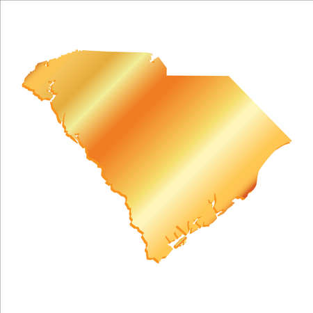 3D South Carolina Gold outline map with shadow Illustration