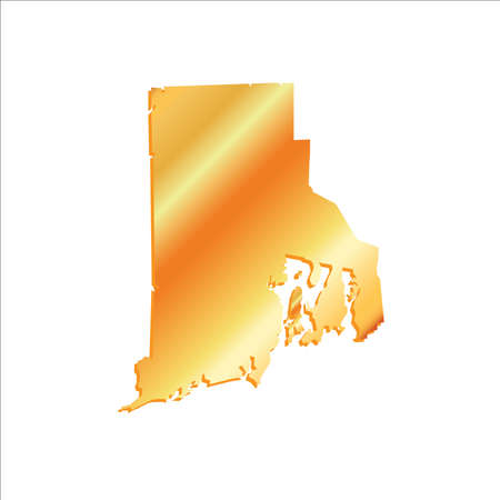 3D Rhode Island (USA) Gold outline map with shadow Illustration