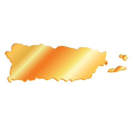 3D Puerto Rico Gold outline map with shadow