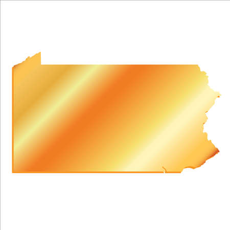 pennsylvania: 3D Pennsylvania State Gold outline map with shadow Illustration