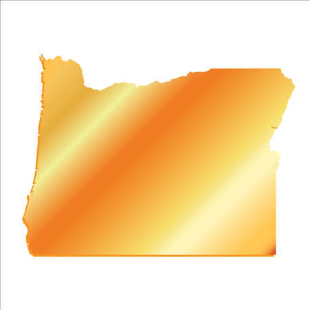 mercator: 3D Oregon State Gold outline map with shadow