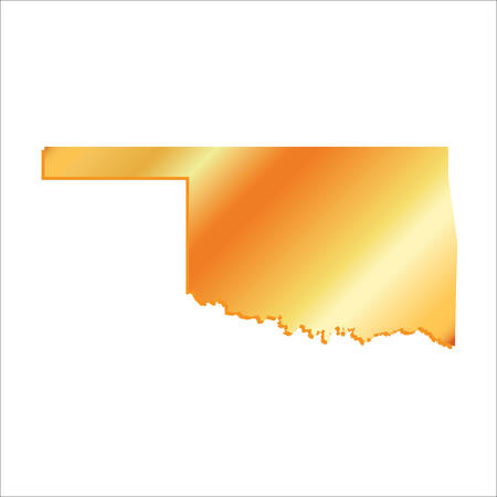 3D Oklahoma State Gold outline map with shadow