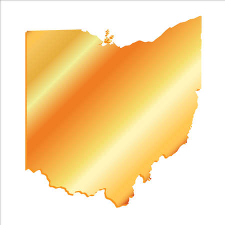 mercator: 3D Ohio State USA Gold outline map Illustration