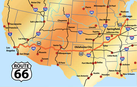 roadsigns: Gold Map of Complete Route 66 Illustration