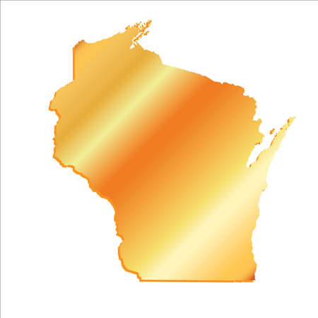 3D Wisconsin (USA) Gold outline map with shadow