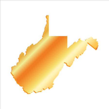 3d virginia: 3D West Virginia (USA) Gold outline map with shadow Illustration