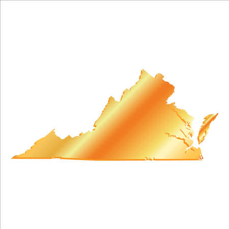 mercator: 3D Virginia State USA Gold outline map