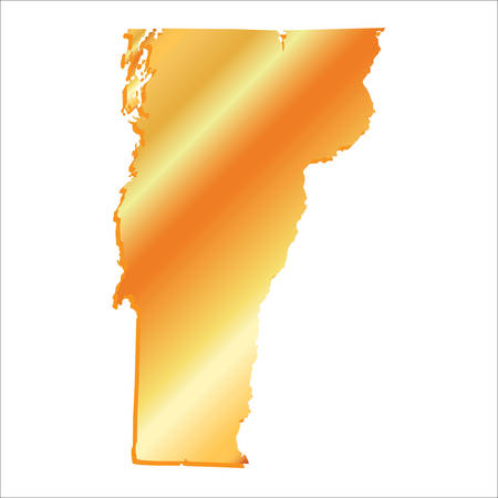 mercator: 3D Vermont (USA) Gold outline map with shadow