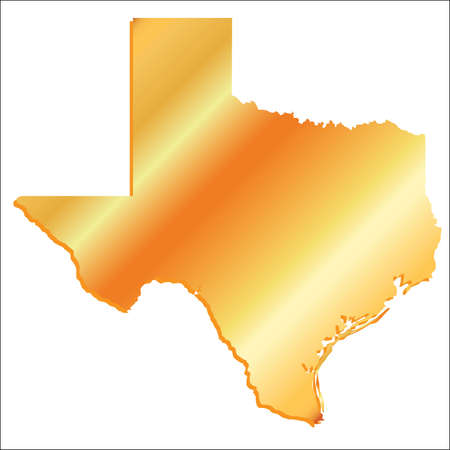 3D Texas (USA) Gold outline map with shadow Vettoriali