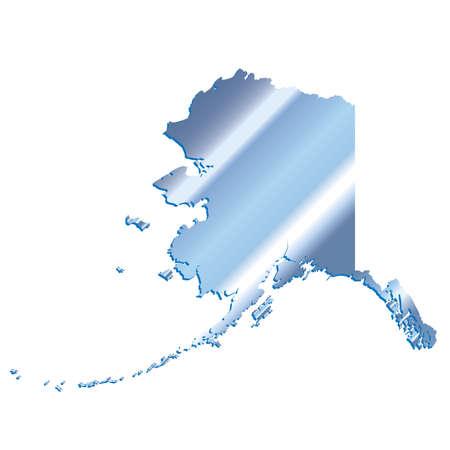 mercator: 3D Alaska (USA) Iridium Blue outline map with shadow Illustration