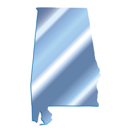 mercator: 3D Alabama (USA) Iridium outline map with shadow