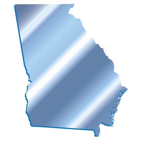 mercator: 3D Georgia (USA) Iridium Blue outline map with shadow Illustration