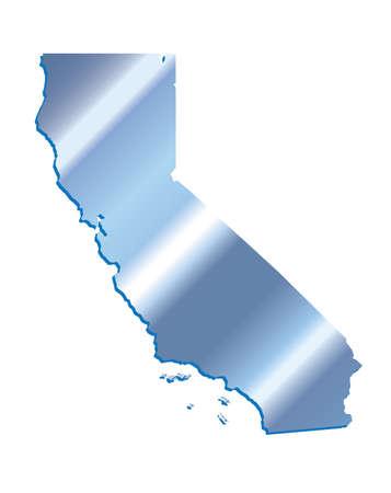 3D California (USA) Iridium Blue outline map with shadow