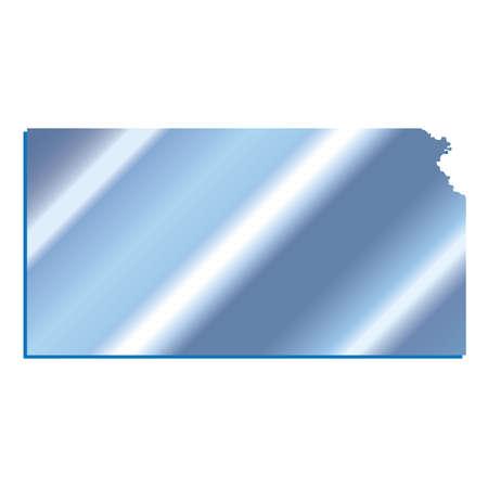 3D Kansas State USA Iridium cartina muta Blu Archivio Fotografico - 60380157
