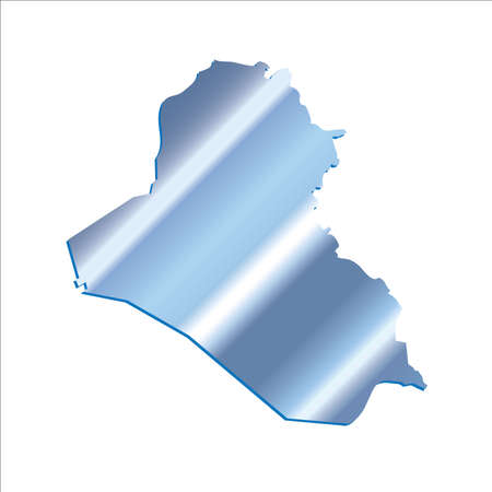 3D Iraq Iridium Blue Outline Map With Shadow