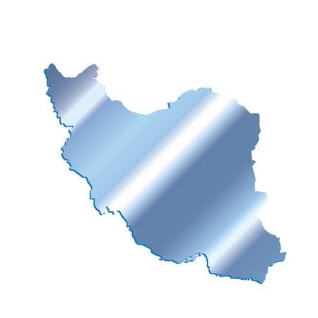 3D Iran Iridium Blue outline map with shadow Illustration