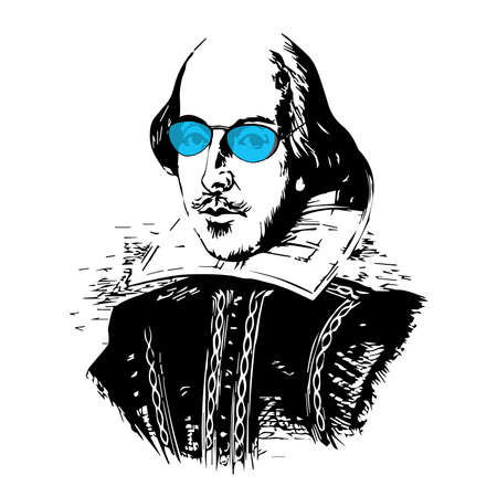 Spoof Vector Drawing of The Bard with Blue-Tinted Glasses