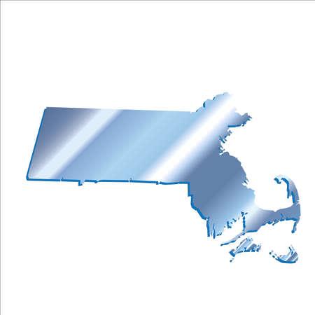 mercator: 3D Massachussets (USA) Iridium Blue Boundary map with shadow